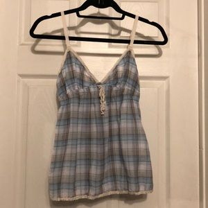 Blue plaid tank with lace detailing